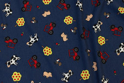 Navy cotton-jersey with tractors and animals