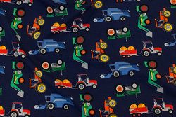 Navy cotton-jersey with tractors etc.