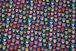 Navy, firm cotton with 15 mm owls