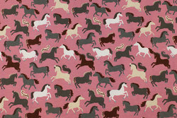 Old rose cotton-jersey with horses
