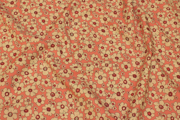 Old rose, light cotton with off-white flowers