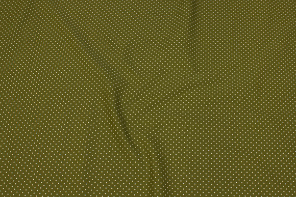 Olive-green firm cotton with small white dot