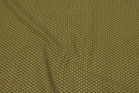 Olive-green, firm cotton with small white flower