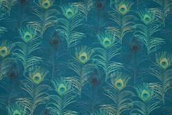 Patchwork-cotton with peacock-pattern