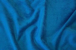 Petrol-blue, soft polyester corduroy