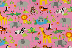 Pink cotton-jersey with Africa animals