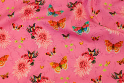 Pink cotton-jersey with butterflies