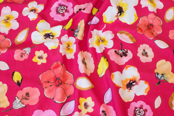 Pink and red cotton-jersey with flowers