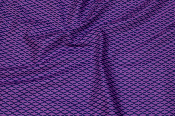 Purple patchwork cotton with navy domino pattern