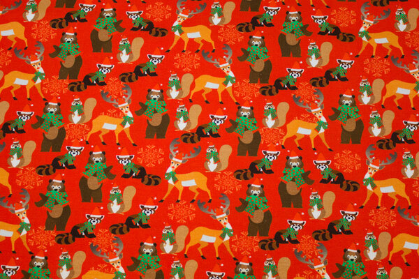 Red christmas jersey with forest-animals