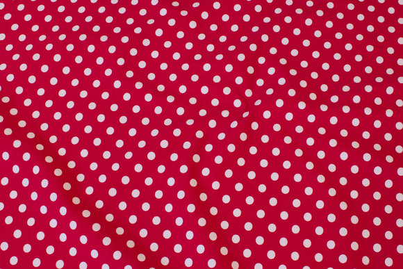 Red cotton-jersey with white 8 mm dots