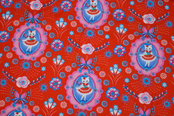 Red, firm cotton with cats Fiona Hewitt design