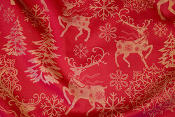 Red table cloths-satin with christmas images in gold