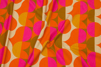 Retro cotton-jersey in orange and pink and yellow