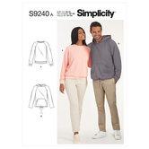 Unisex Raglan Pullover Shirts. Simplicity 9240.