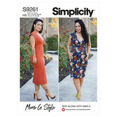 Knits only dress in two lengths. Simplicity 9261.