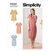 V-neckline Shift Dresses. Simplicity 9262.