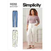 Vintage jeans with front buttons or zipper. Simplicity 9266.