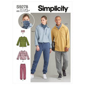 Unisex tops in two lengths, pants and neckpiece. Simplicity 9278.