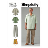 Mens shirt in two lengths, pants and shorts. Simplicity 9279.