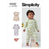Babies knit dress, romper and diaper cover. Simplicity 9282.