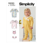 Infants knit gathered gown and jumpsuit. Simplicity 9283.