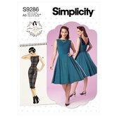 Fold-back facing dresses. Simplicity 9286.