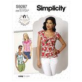 Sweetheart-neckline blouses. Simplicity 9287.