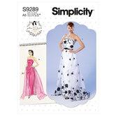 Strapless dress, detachable train and belt. Simplicity 9289.