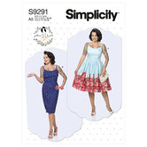 Princess seam dresses with straight or gathered skirt. Simplicity 9291.