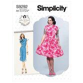 Dresses with mandarin collar and skirt options. Simplicity 9292.