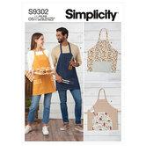 Unisex Aprons. Simplicity 9302.