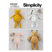 Plush bears and bunnies in two sizes. Simplicity 9306.