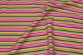 Striped cotton in pink, purple and green .