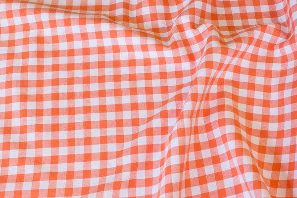 Summer-cotton in orange with 1 cm checks