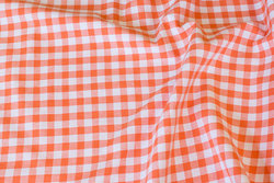 Summer-cotton in orange with 1 cm checks