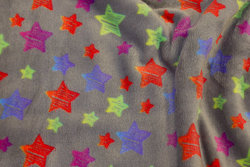 Supersoft grey micro-fleece with multicolored stars