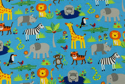 Turqoise cotton-jersey with Africa-animals
