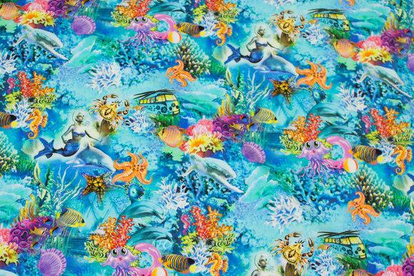 Turqoise cotton-jersey with hav-motifs, mermaids, fish etc.