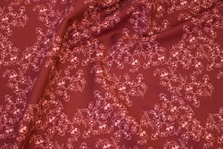 Wine-red, firm cotton with coral flowers