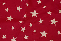 Winter-red cotton and polyester in big width with stars