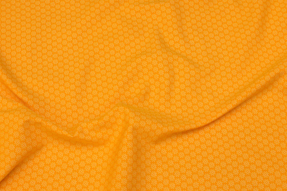 Yellow cotton-poplin with small flowers