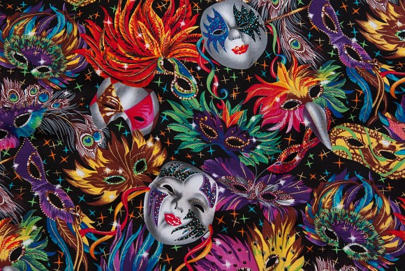 Black, beautiful cotton with multicolored masks