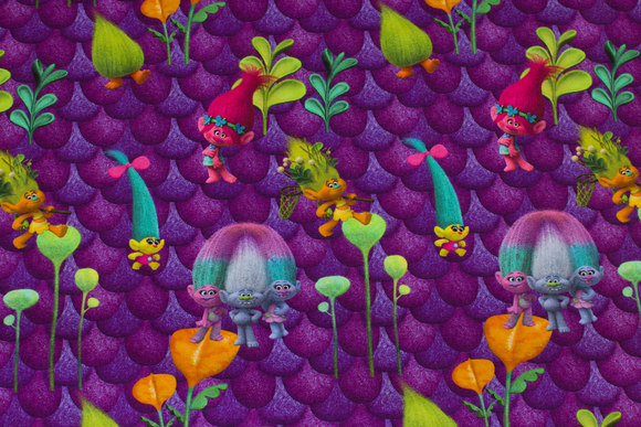 Purple cotton-jersey with trolls