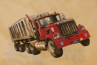 Sand-colored cotton with big trucks