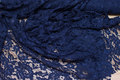 Navy blue dress-lace-fabric with scallop edge on one side