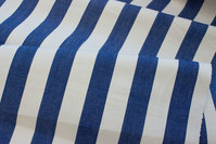 White sunchair fabric with blue stripes, 4 cm stripes.