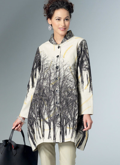 Loose Shirts with Stand Collar, Shaped Hem and Tucks