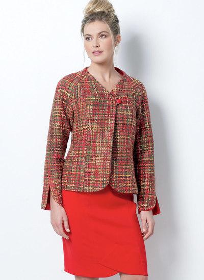 Lined Princess-Seamed, Raglan-Sleeve Jacket and Skirt