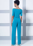Close-fitting top, dress and jumpsuit have off the shoulder neckline and sleeve options. Jacket is very loose fitting. Close-fitting pull-on pants have wide waistband. For moderate stretch knits only.